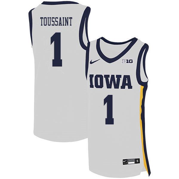 2020 Men #1 Joe Toussaint Iowa Hawkeyes College Basketball Jerseys Sale-White