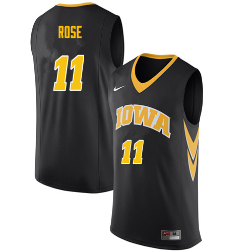 Men #11 Charlie Rose Iowa Hawkeyes College Basketball Jerseys Sale-Black