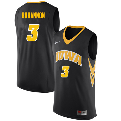 Men #3 Jordan Bohannon Iowa Hawkeyes College Basketball Jerseys Sale-Black