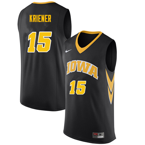 Men #15 Ryan Kriener Iowa Hawkeyes College Basketball Jerseys Sale-Black