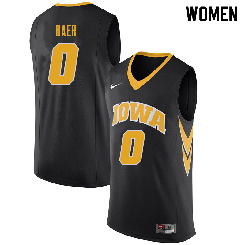 Women #0 Michael Baer Iowa Hawkeyes College Basketball Jerseys Sale-Black