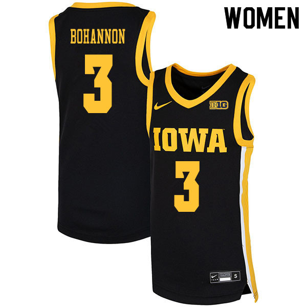 2020 Women #3 Jordan Bohannon Iowa Hawkeyes College Basketball Jerseys Sale-Black