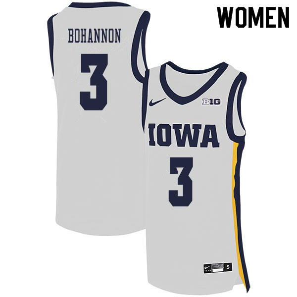 2020 Women #3 Jordan Bohannon Iowa Hawkeyes College Basketball Jerseys Sale-White