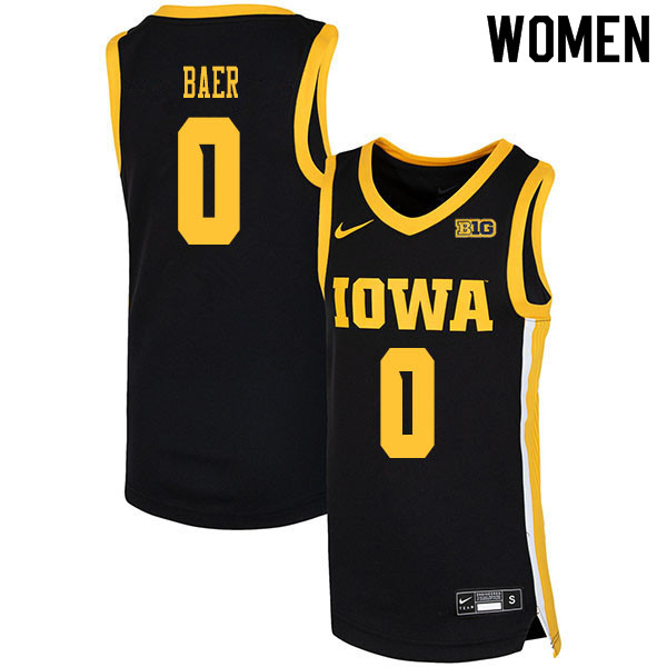 2020 Women #0 Michael Baer Iowa Hawkeyes College Basketball Jerseys Sale-Black