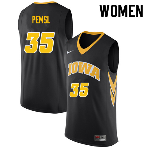 Women #35 Cordell Pemsl Iowa Hawkeyes College Basketball Jerseys Sale-Black