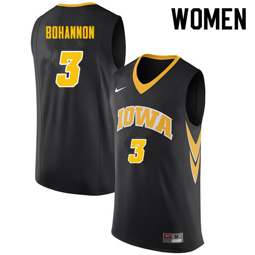 Women #3 Jordan Bohannon Iowa Hawkeyes College Basketball Jerseys Sale-Black