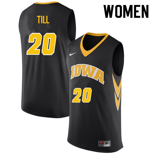 Women #20 Riley Till Iowa Hawkeyes College Basketball Jerseys Sale-Black