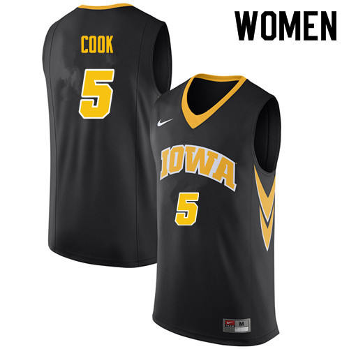 Women #5 Tyler Cook Iowa Hawkeyes College Basketball Jerseys Sale-Black