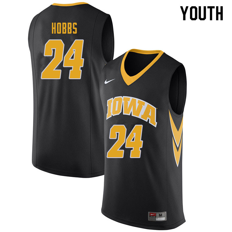 Youth #24 Nicolas Hobbs Iowa Hawkeyes College Basketball Jerseys Sale-Black
