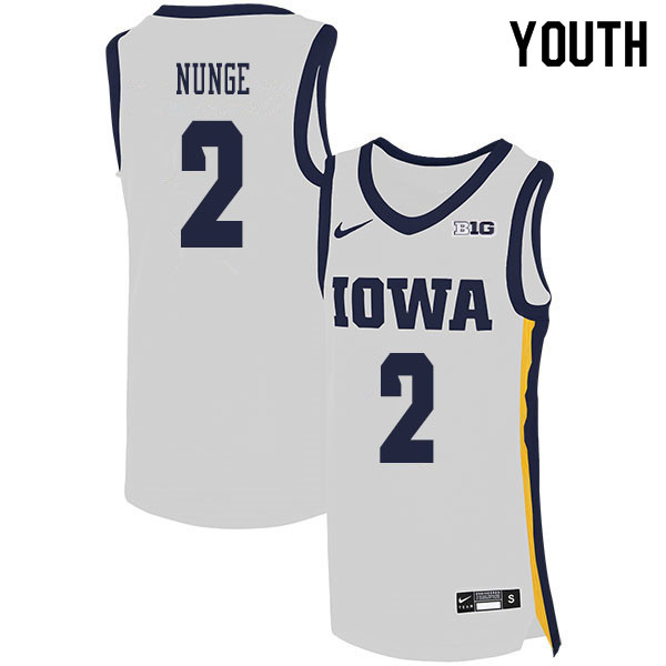 2020 Youth #2 Jack Nunge Iowa Hawkeyes College Basketball Jerseys Sale-White