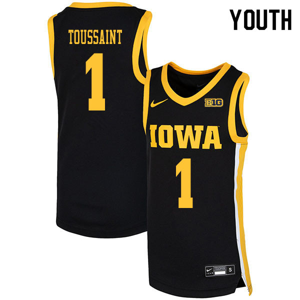 2020 Youth #1 Joe Toussaint Iowa Hawkeyes College Basketball Jerseys Sale-Black