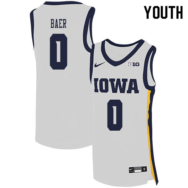 2020 Youth #0 Michael Baer Iowa Hawkeyes College Basketball Jerseys Sale-White