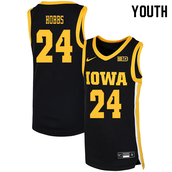 2020 Youth #24 Nicolas Hobbs Iowa Hawkeyes College Basketball Jerseys Sale-Black