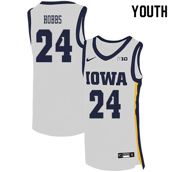 2020 Youth #24 Nicolas Hobbs Iowa Hawkeyes College Basketball Jerseys Sale-White