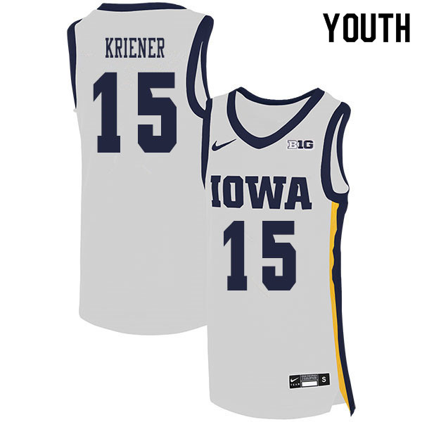 2020 Youth #15 Ryan Kriener Iowa Hawkeyes College Basketball Jerseys Sale-White