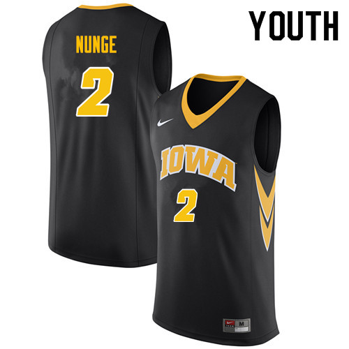 Youth #2 Jack Nunge Iowa Hawkeyes College Basketball Jerseys Sale-Black