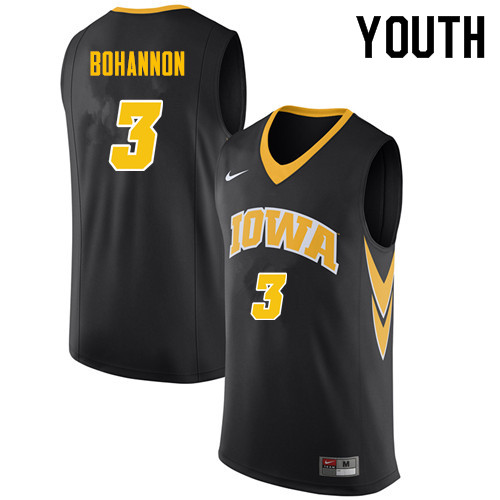 Youth #3 Jordan Bohannon Iowa Hawkeyes College Basketball Jerseys Sale-Black