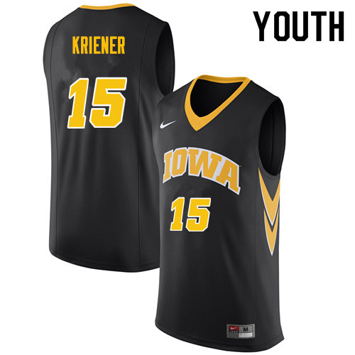 Youth #15 Ryan Kriener Iowa Hawkeyes College Basketball Jerseys Sale-Black
